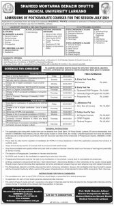 Shaheed Mohtarma Benazir Bhutto Medical University Admissions 2021