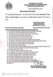 Sindh Government Announced Public Holiday on 01 May 2021