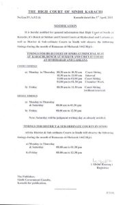 Sindh Office and Court Timing In the Ramadan 2021