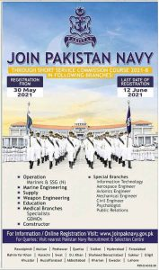 Join Pak Navy by Short Service Commission Course 2021-B | Apply Now